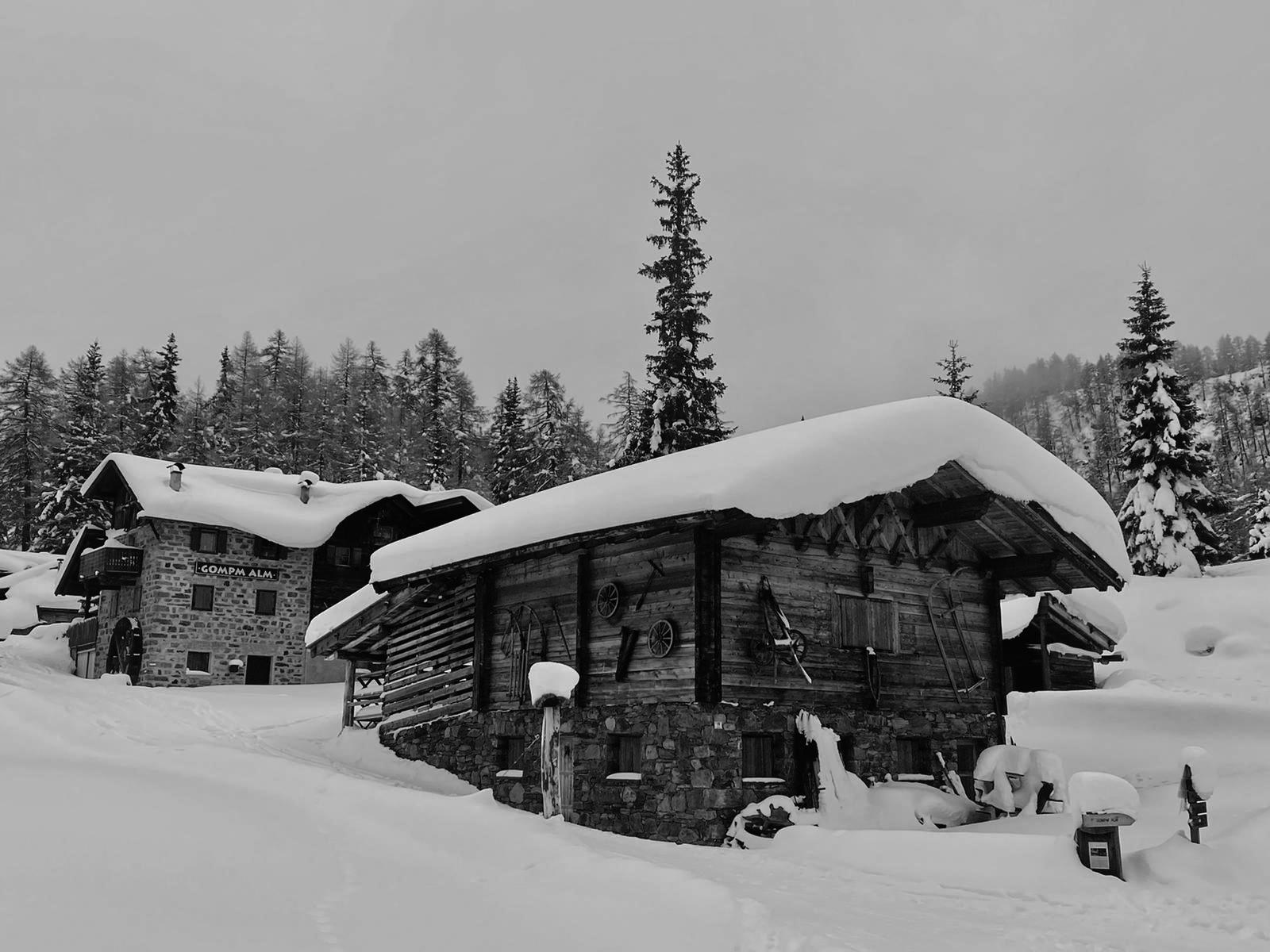 Heimat des Edelschwarz - Gompm Alm im Winter